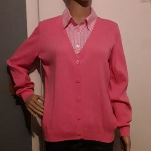 Izod  pink sweater with built in checked collar